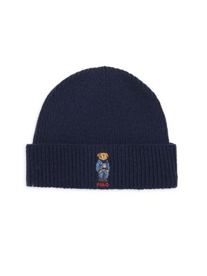 Wool & Cashmere Embroidered Bear Beanie