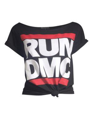 AO.LA BY ALICE + OLIVIA | Rizo Run DMC Roll Sleeve Tie-Front Graphic Tee | Goxip