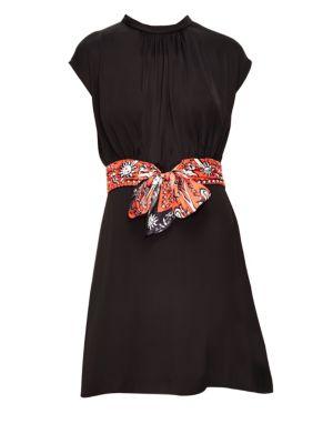 Hellebore Scarf Belt Dress in Black