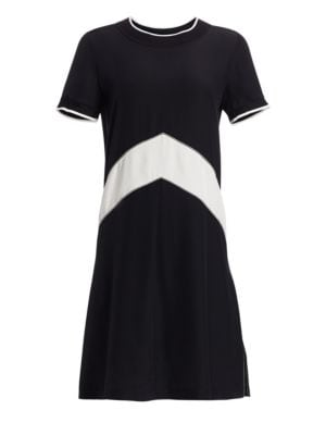 Hannah Chevron Stripe Silk Shift Dress in Navy