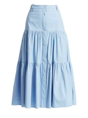 Tiered Stretch Poplin A-Line Skirt