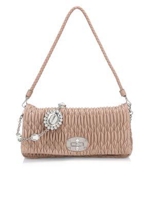 Crystal-Embellished Matelassé Leather Shoulder Bag