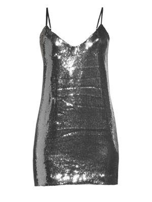 RTA Bijoux Sequin Mini Dress in Silver