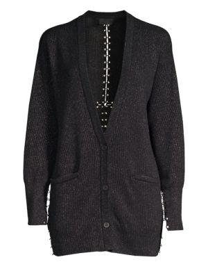 RTA Oneil Metallic Cotton Cardigan in Black