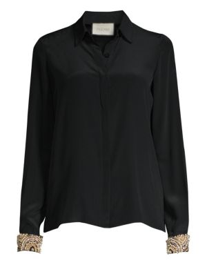 ALEXIS Ottavia Button-Front Silk Top With Embellished Cuffs in Black