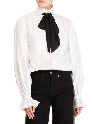 Necktie Buttoned Shirt in White