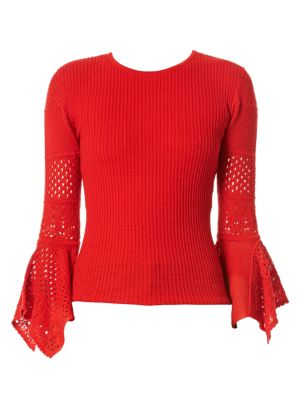 CAROLINA HERRERA 3/4-Sleeve Pointelle-Lace Knit Pullover Sweater in Red