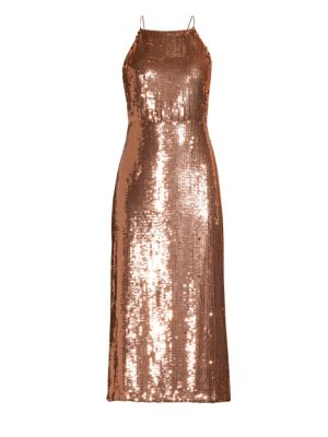 Open-Back Sequined Georgette Midi Dress in Pink
