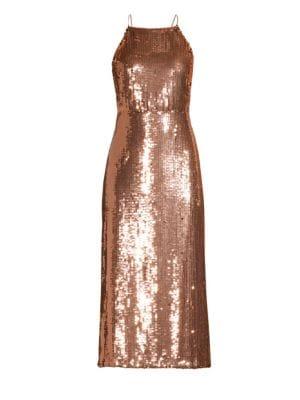 Sequined Crisscross Strap Dress