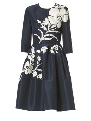 Silk Floral Embroidered Fit-&-Flare Dress