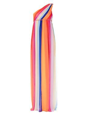 Rainbow Silk Tulle Column Gown