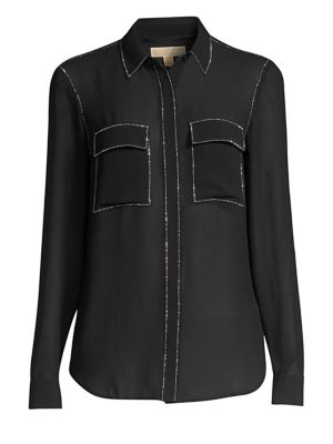 Beaded-Trim Button-Down Shirt