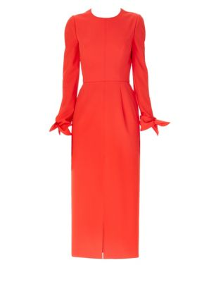 Long-Sleeve Bow Wrist Tie Cocktail Dress