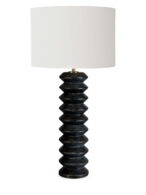 Accordion Ebony Wood Table Lamp