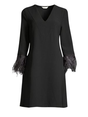 Feathered Sleeve Dress