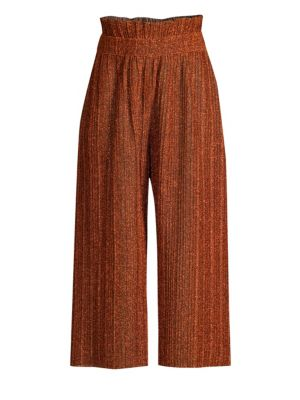 Pleated Wide Leg Paperbag Pants