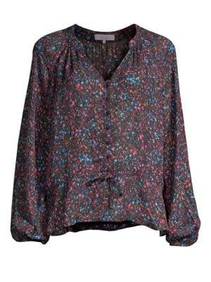 Rosline Silk-Blend Floral Blouse