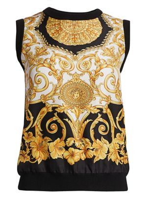 Sleeveless Hibiscus-Print Silk Shell Top in Black/Gold