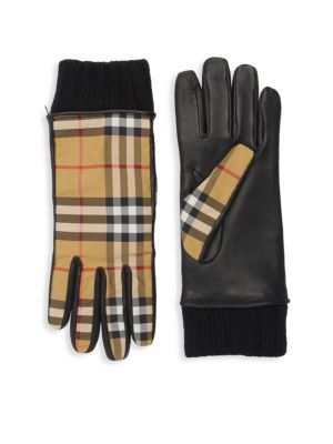 Check Leather Gloves