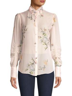 JOIE Elzie Silk Floral Blouse in Rose Bud