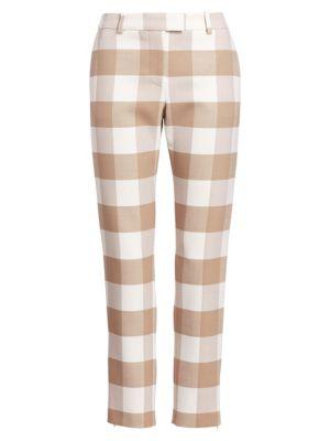 Henri Wool Check Pants, Oat Ivory
