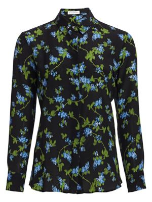 Terese Floral-Print Silk Crepe De Chine Blouse in Black