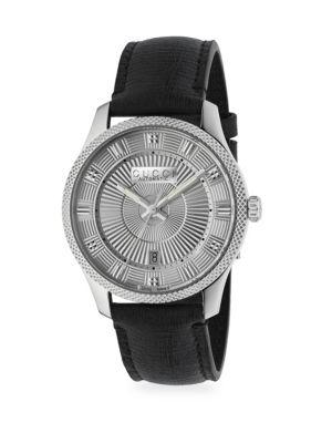 Eryz Round Stainless Steel Leather-Strap Watch