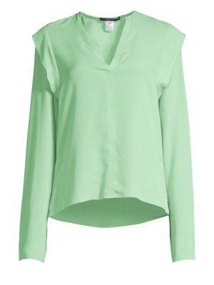Long Sleeve Ruffle Silk Blouse