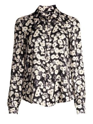 DEREK LAM | Long-Sleeve Button-Down Poppy Print Silk Blouse | Goxip