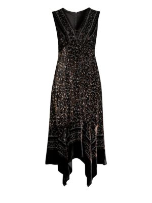 Aroma Leopard Burnout Velvet Midi Dress