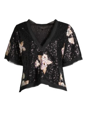 Daffodil Floral Sequin Top