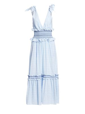 Smocked Ring Cut Out Halter A-Line Dress