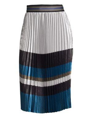 Tamsen Striped Pleated Skirt