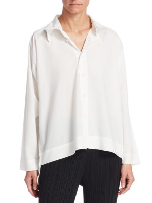 Pleated Collar Button-Down Shirt