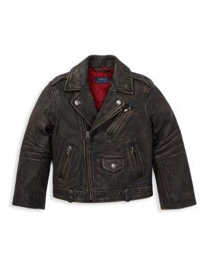 Little Boy's & Boy's Leather Moto Jacket
