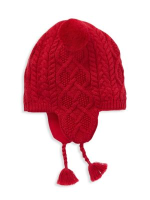 Girl's Aran-Knit Earflap Hat