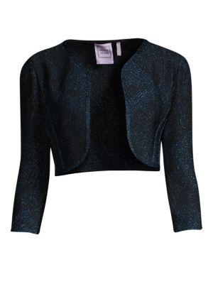Three-Quarter Sleeve Lurex Jacquard Bolero Cardigan