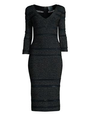 V-Neck Lurex & Knit Midi Dress