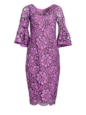 Corded Lace Flounce Sleeve Dress