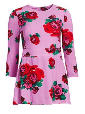 Crepe Rose Print Peplum Top