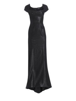 ZAC POSEN | Metallic Cap Sleeve Party Column Gown | Goxip