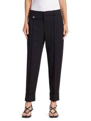 Wool Cuffed Trousers - Black Size 8