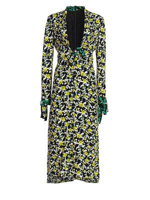 Plunging Long-Sleeve Floral-Print Georgette Long Dress W/ Scarf Hem in White Wildflower