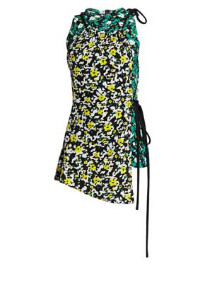 Sleeveless Asymmetric Wildflower-Print Viscose Top in Green