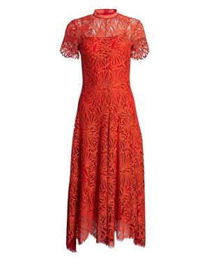 Mock-Neck Short-Sleeve A-Line Lace-Guipure Long Dress in Tangerine