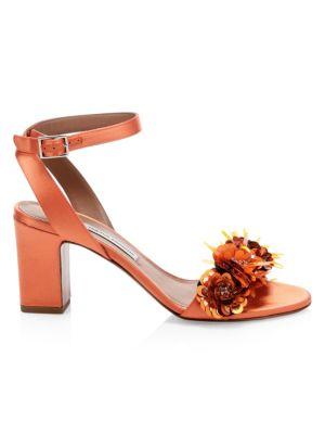 Lilian Floral Sequin Leather Sandals
