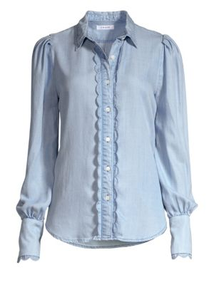 Scalloped Denim Button-Down Shirt