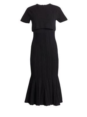 Popover Plisse Midi Dress