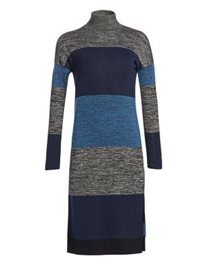 Bowery Striped Turtleneck Sweaterdress in Blue Stripe