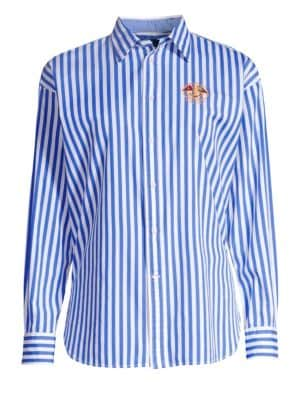 Ellen Embroidered Striped Long-Sleeve Button-Down Shirt